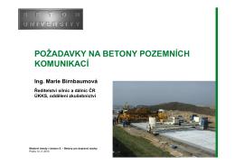 požadavky na betony pozemních komunikací