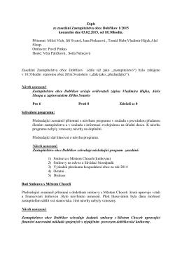 Zápis ze zasedání Zastupitelstva obce Dobříkov 1/2015 konaného
