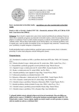 Kurz: mezinárodní teritoriální studia - IMS