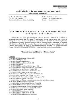 oznámení o pokračování správního řízení Rekonstrukce trati Klatovy