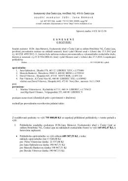 USNESEN Í O ROZVRHU prodejem nemovitosti (členských práv a