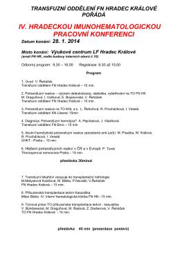 iv. hradeckou imunohematologickou pracovní konferenci