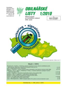 Obilnářské listy 1/2010 - Zemědělský výzkumný ústav Kroměříž, sro