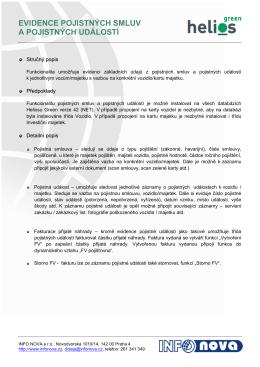 evidence pojistných smluv a pojistných událostí