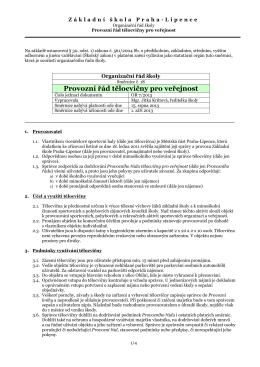 Provozní řád tělocvičny pro veřejnost - Základní škola Praha