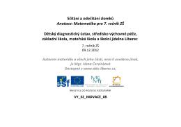 Sčítání a odečítání zlomků - Dětský diagnostický ústav a SVP Liberec