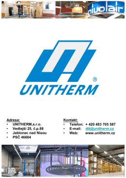 Adresa: • UNITHERM,s.r.o. • Vedlejší 25, č.p.88 • Jablonec nad