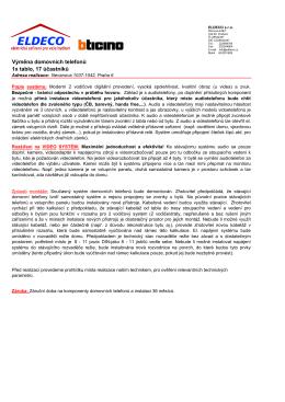 Výměna domácích telefonů - Bytové družstvo Nevanova 1037 – 1042