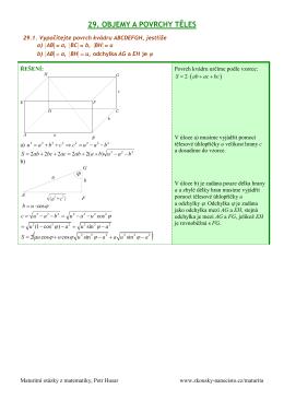 29-Objemy a povrchy těles - Maturitní otázky z matematiky