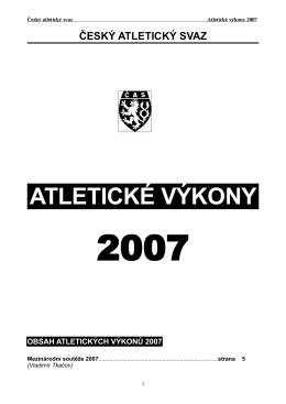 Atletické výkony 2007 - Brněnský atletický klub