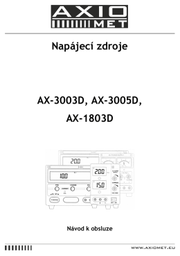 Napájecí zdroje AX-3003D, AX-3005D, AX-1803D