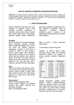 Analýza vybraných parametrů lipidového metabolizmu
