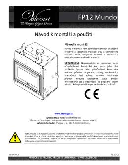 FP12-MUNDO uživatelská přírůčka - Kanadská krbová kamna a vložky