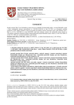 Usnesení č.j. 169EX 1518/11-31 - Exekutorský úřad Brno