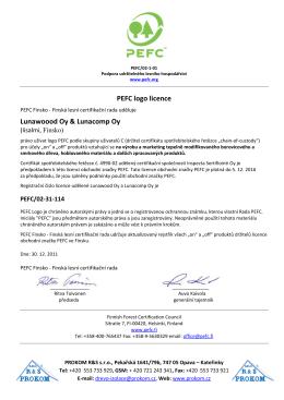 Certifikát PEFC - PROKOM R&S sro