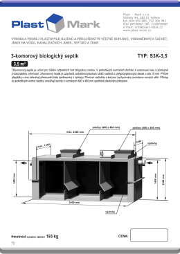 3-komorový biologický septik TYP: S3K-3,5 - Plast-Mark