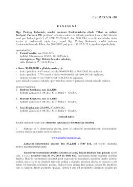 Č.j.: 152 EX 5/14 - 280 U S N E S E N Í Mgr. Predrag
