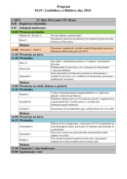 Program XLIV. Lenfeldovy a Höklovy dny 2014