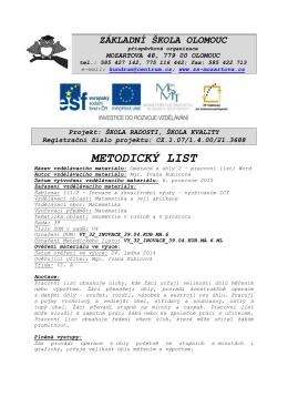 metodický list - Základní škola Olomouc, Mozartova 48, příspěvková