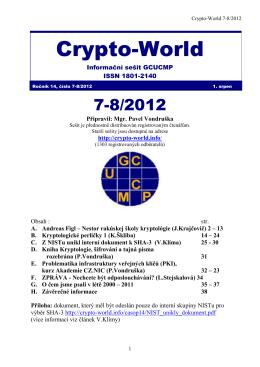 Crypto-World 7-8/2012 - Personal page: Vlastimil Klima