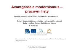 Avantgarda a modernismus – pracovní listy