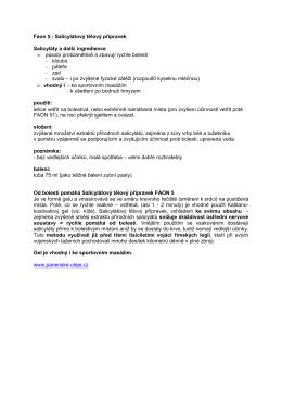 Faon 5 - Salicylátový tělový přípravek Salicyláty a další ingredience