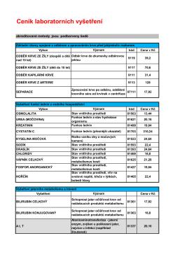 Ceník laboratorních vyšetření