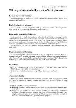 Základy elektrotechniky – zápočtová písemka