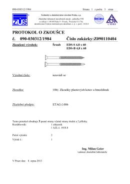 Protokol o zkoušce - šrouby EDS-S EDS-B