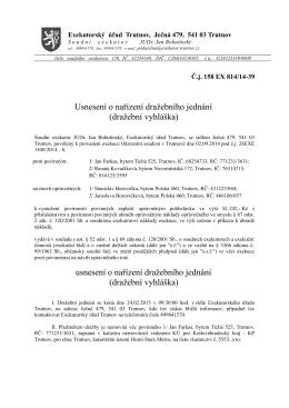 Usnesení o nařízení dražebního jednání