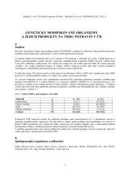 Geneticky modifikované organizmy a jejich produkty na trhu potravin