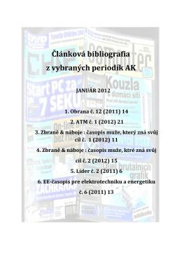 Článková bibliografia z vybraných periodík AK