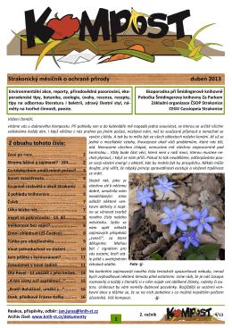 Strakonický měsíčník o ochraně přírody duben 2013 Z obsahu