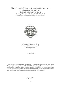 Základy politické vědy - eLearning FVP SU