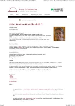 Katerina Hornícková - Institut für Realienkunde des Mittelalters und