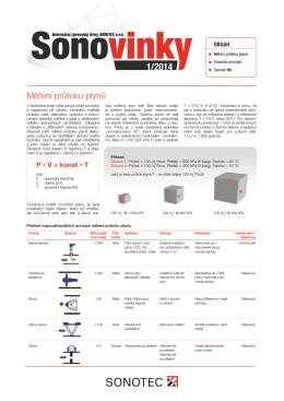 SONOVINKY 1/2014 – Měření průtoku plynů