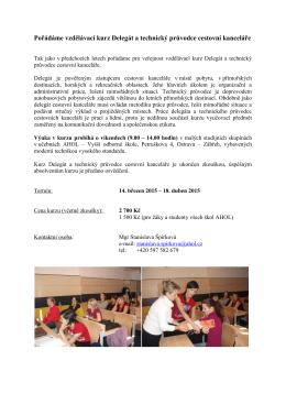 Pořádáme vzdělávací kurz Delegát a technický průvodce
