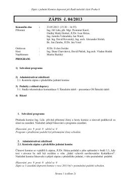 PROGRAM jednání dne 28 - Šárecké údolí, občanské sdružení