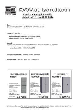 Ceník katalog vybavení kanceláře od 1.1.2014 - 31.12.2014