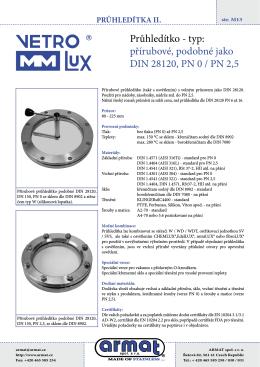 Přírubové průhledítko podobné DIN 28120, PN 0