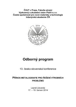 Program konference 2014 (.pdf) - Přínos metalografie pro řešení