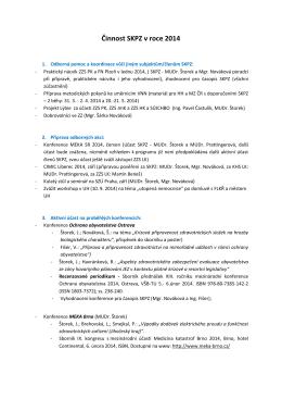 Činnost SKPZ v roce 2014 - Společnost krizové připravenosti
