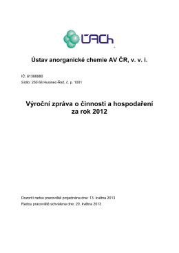 2012 - Ústav anorganické chemie AV ČR, vvi