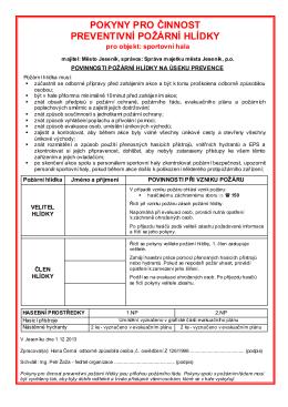 pokyny pro činnost preventivní požární hlídky