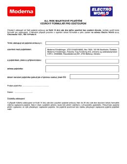 Vzorový formulář pro odstoupení od nového pojištění