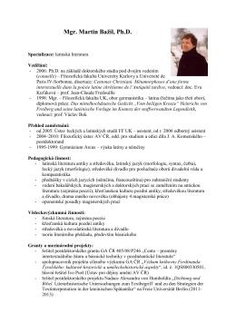 Mgr. Martin Bažil, Ph.D. - Ústav řeckých a latinských studií