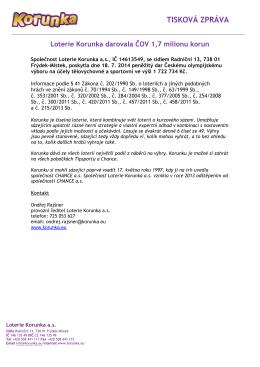Loterie Korunka darovala ČOV 1,7 milionu korun