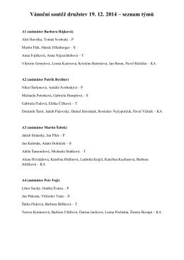 Vánoční soutěž družstev 19. 12. 2014 – seznam týmů