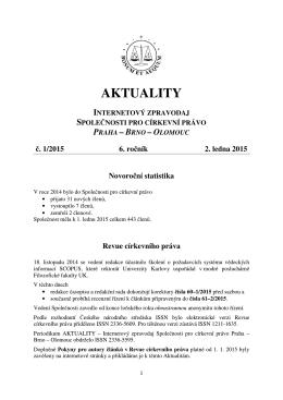 Aktuality č. 1/2015 - Společnost pro církevní právo