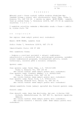 F 72223/2010 -------------- - 1 N 794 U s n e s e n í Městský soud v